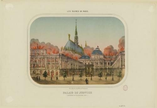 The Palais de Justice on fire