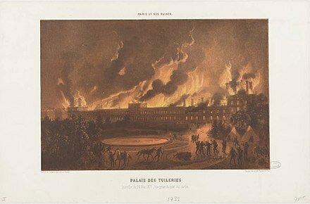 Communards set fire to the Palais des Tuileries