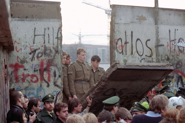 The Berlin Wall is brought down