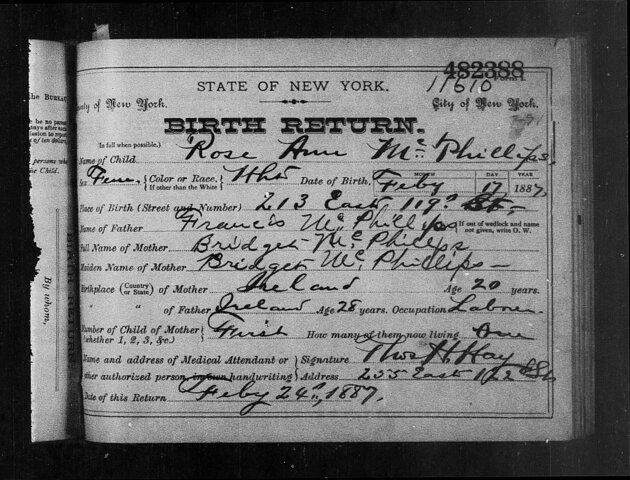 Birth of Anna T. MCPHILLIPS