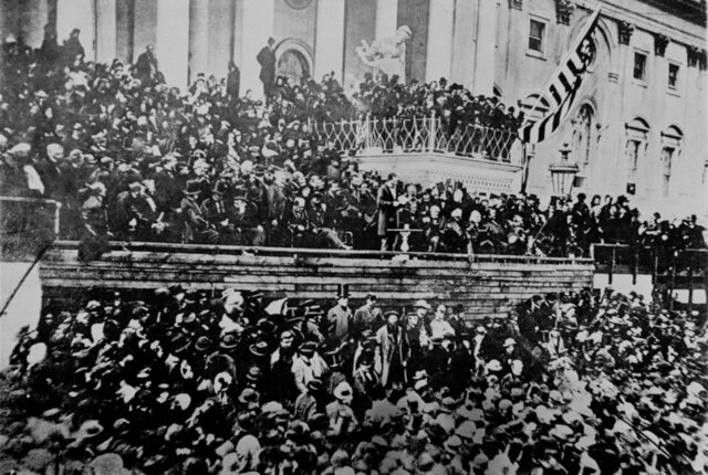 Abraham Lincoln gives his second Inaugural Address