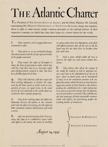 1941 carta atlántica clamaba por la colaboración en temas económicos y sentaban los preparativos para un nuevo sistema permanente de seguridad