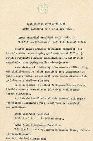 Eesti NSVL-i vastastikuse abistamise pakt