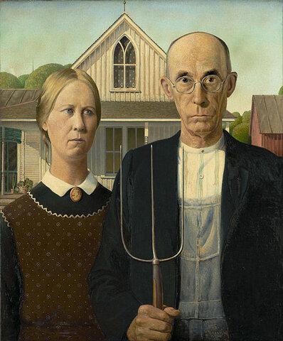 """""""American Gothic"""" por Grant Wood. (Instituto de arte de Chicago)."""