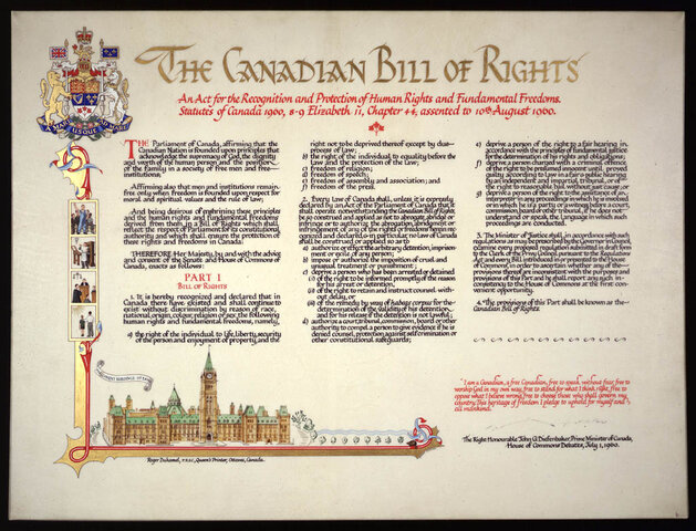 Approval of the Canadian Bill of Rights.