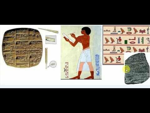 Escritura cuneiforme y  jeroglífica.