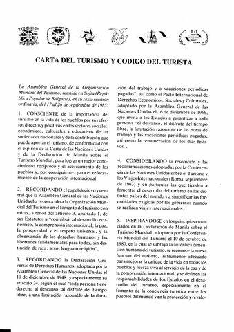 Carta del turismo y código del turista(OMT)