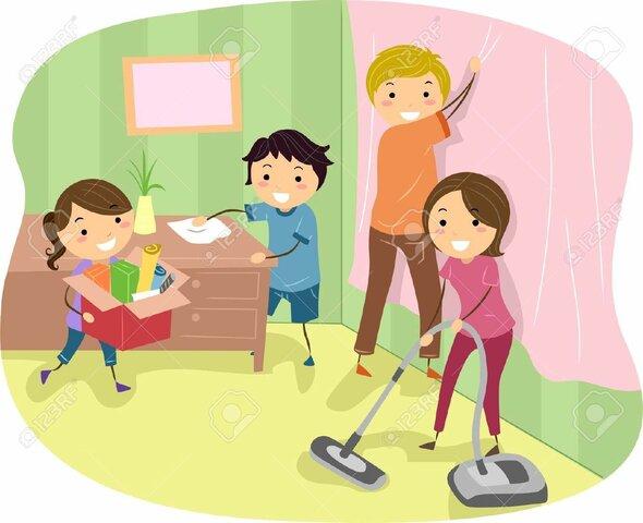 Aprendiendo  labores domésticas en familia