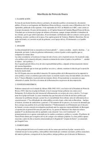 Manifiesto de Primo de Rivera tras el golpe de Estado