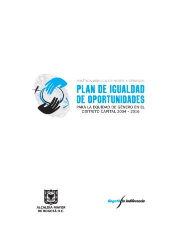 ACUERDO 091 DE 2003 Plan de igualdad de oportunidades para la equidad de género en el Distrito Capital