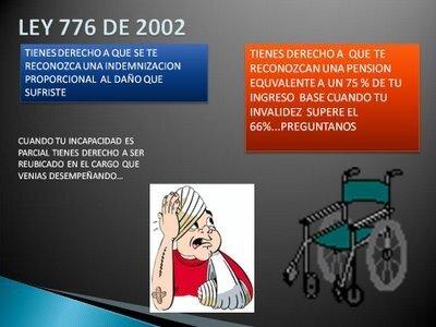 En Colombia- Ley 776 organización, administración y prestaciones del S.G.R.P. y Obligación de reincorporación