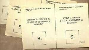 Aprovació de l'Estatut d'Autonomia de Catalunya en referèndum (25 octubre)