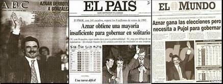 El Partido Popular gana en las elecciones generales por mayoría simple y José María Aznar se convierte en presidente del Gobierno.