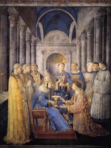 Beato Angelico, San Lorenzo riceve il diaconato