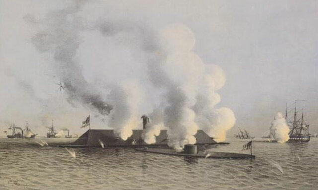The Merrimac and the Monitor fight of the Virginia coast