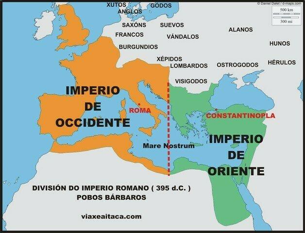 División Imperio Romano de Oriente y Occidente