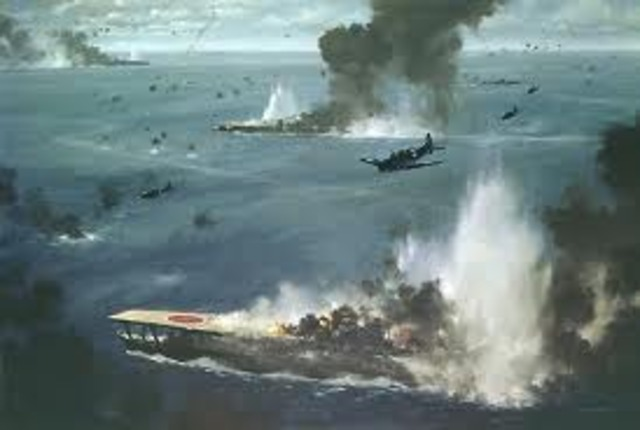 U.S. defeat Japan at Battle of Midway