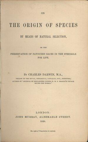 Se publica ''El origen de las especies'' de Charles Darwin.