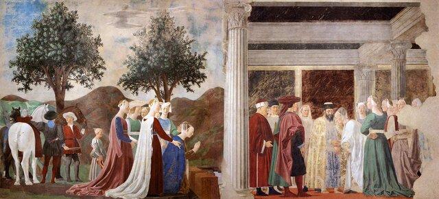 Piero della Francesca, Adorazione del sacro legno e incontro di Salmone con la regina di Saba