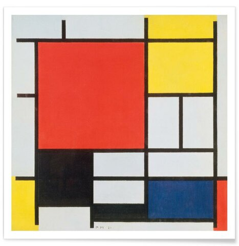 Composición II con rojo, azul y amarillo, Mondrian