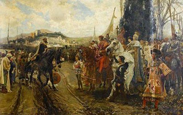 Reconquista de Granada por los reyes Católicos.