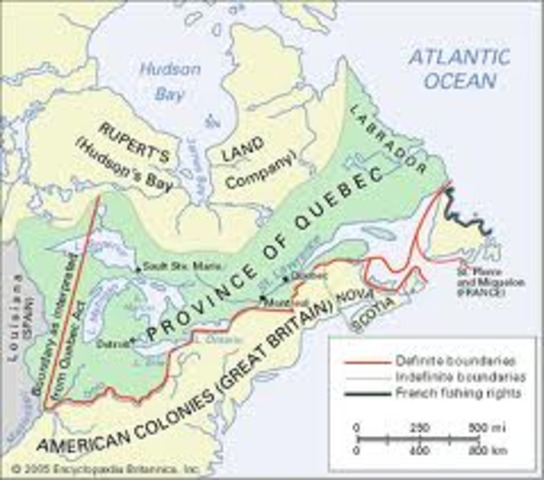 The Quebec Act in 1774