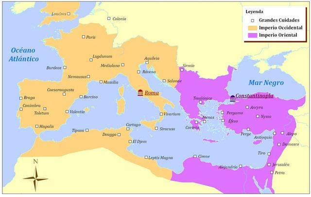 División del Imperio Romano Oriente y Occidente por Teodosio: