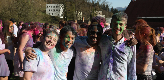 Holi! (my haircut is horrendous, but the friends were stupendous. Luca, Kento, and Justin in picture.)