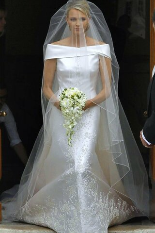 Wedding dress for Charlene Wittstock: The purpose of the dress was for it to be worn at Charlene's wedding to Prince Albert of Monaco.
