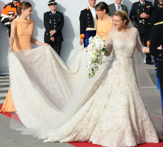 Wedding dress for Countess Stéphanie de Lannoy: The purpose of the dress was for it to be worn at Countess Stéphanie's wedding to Prince Guillaume, Hereditary Grand Duke of Luxembourg.