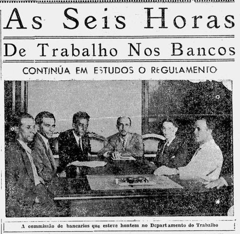 Dezembro de 1932: atuação da Associação na elaboração do regulamento acerca da jornada de trabalho nos bancos.