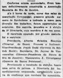 Criada a Associação Bancária do Rio de Janeiro