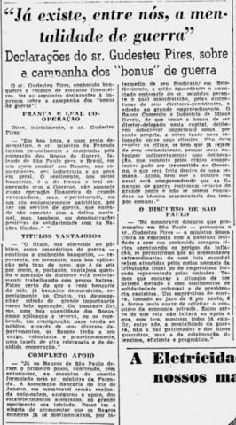 """1943: Contexto da Segunda Guerra Mundial e do Estado Novo getulista. Apoio da Associação ao """"bônus de guerra"""" como medida eficaz de combate à inflação em tempos de conflito."""