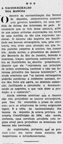 Sobre o decreto presidencial de nacionalização de bancos de depósito.