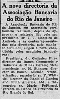 Dezembro de 1932: Gudesteu Pires é eleito para Presidente da Associação.