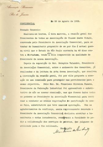 Agosto de 1932: Demonstração de preocupação acerca dos impactos da ditadura que estava a se formar e das Revolução Constitucionalista em São Paulo.