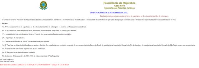 Decreto nº 20.451. Banco do Brasil se torna o responsável pelas relações cambiais do país e a Associação faz parte de uma comissão responsável por estabelecer datas e divisões de quotas cambiais nessa nova dinâmica.
