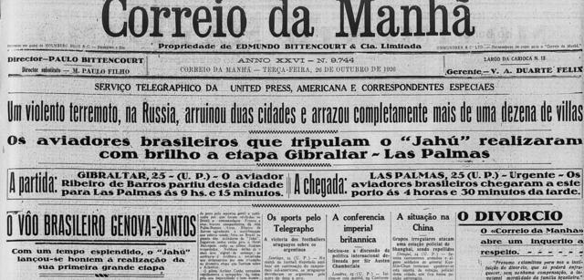 """Manchete: """"Os aviadores brasileiros que tripulam o 'Jahú' realizaram com brilho a etapa Gibraltar-Las Palmas"""""""
