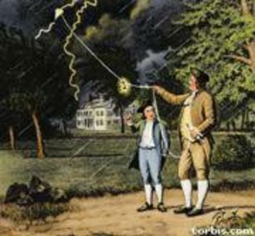 Benjamín Franklin demostró la naturaleza eléctrica de los rayos.