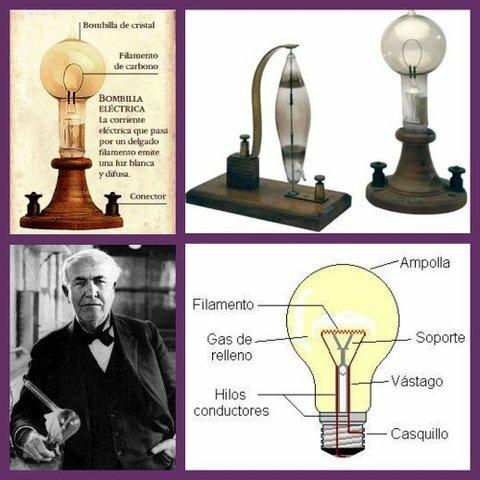 Tómas Alva Edison inventa la lámpara eléctrica por incandescencia.
