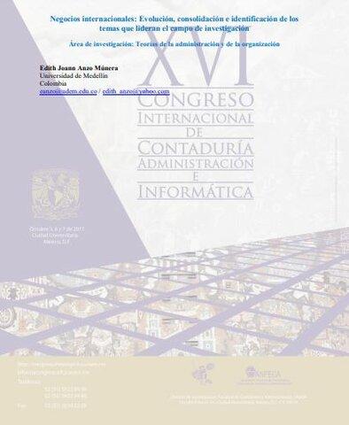"""Articulo Literario """" Negocios internacionales: Evolución, consolidación e identificación de los temas que lideran el campo de investigación""""."""