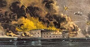 Confederate forces fire on Fort Sumter
