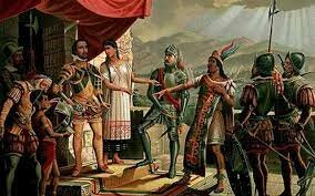 Encuentro de Hernan cortes con Moctezuma