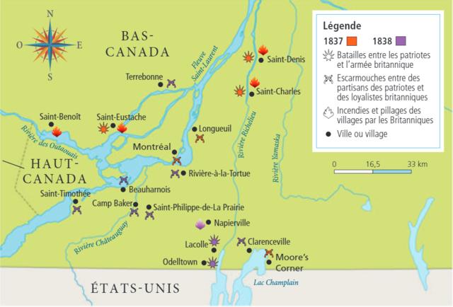 Lieux des principaux affrontements lors des soulèvements de 1837 et 1838 au Bas-Canada