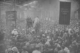 La revolución bolchevique en Rusia.