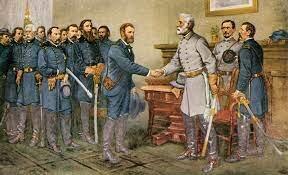 Robert E. Lee surrenders at Appomattox