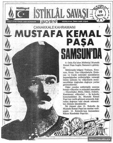 Mustafa Kemal, Samsun'a çıktı.