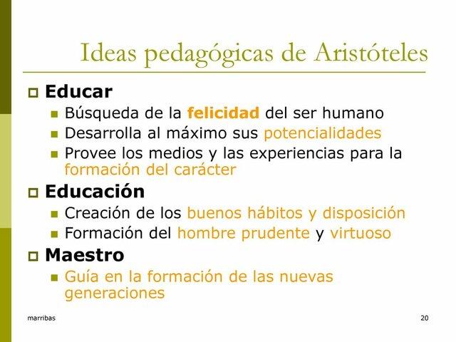 La educación y Pedagogía de  Aristóteles