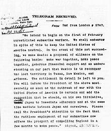 British intelligence intercepts the Zimmermann Telegram