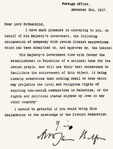 Britain issues the Balfour Declaration